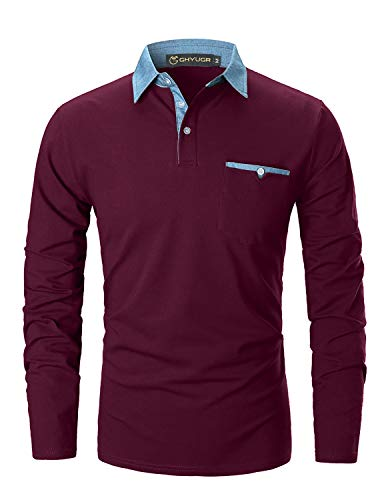 GHYUGR Poloshirts Herren Basic Langarm Baumwolle Polohemd Denim Nähen Golf T-Shirt S-XXL (XL, Rot 1)