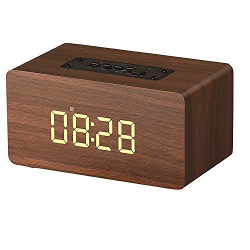 NCBH Multifunctionele luidspreker, draadloos, wandklok van hout, Bluetooth, subwoofer, wekker, geïntegreerd, 1500 mAh, voor binnen, kantoor, buiten