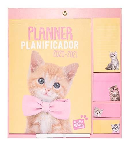 ERIK - Planificador mensual con imán para nevera 2020/2021 Studio Pets Cats, 30x34 cm
