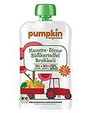 Pumpkin Organics SPASS Bio Gemüse Quetschies aus Karotte, Süßkartoffel, Brokkoli und Birne (10 x 100g) I Babynahrung ab dem 6. Monat