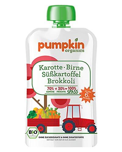 Pumpkin Organics SPASS Bio Gemüse Quetschies aus Karotte, Süßkartoffel, Brokkoli und Birne (30x100g) I Babynahrung ab dem 6. Monat