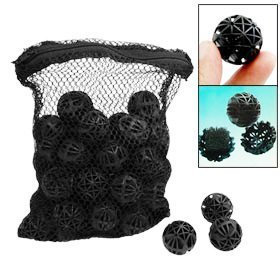 CNZ 50pcs Black Aquarium Fish Tank Filter Bio-Balls Filtration Media, 1-inch (1-Pack)