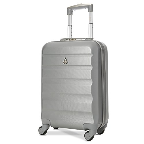 Aerolite Super Lightweight ABS Hard Shell Travel Carry On Cabin Hand Luggage Suitcase with 4 Wheels, Approved for Ryanair, easyJet, British Airways, Virgin Atlantic, Flybe and Many More, 21', Silver