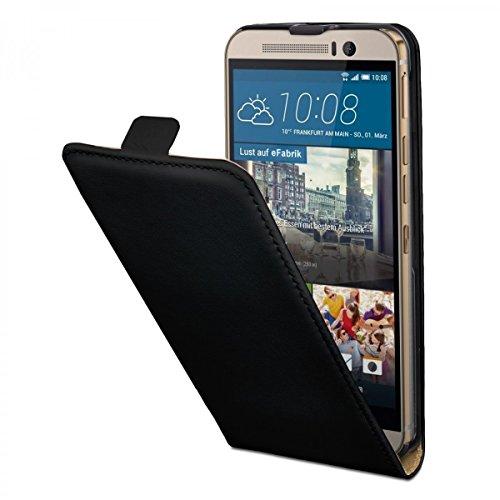 eFabrik Hülle für HTC One M9 & HTC One M9 Prime Camera Edition Schutzhülle Handy Tasche Smartphone Zubehör Flip Cover aus Kunstleder in Schwarz