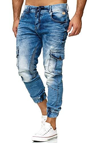 Red Bridge Herren Jogger Denim Jeanshose Cargo Hose Narrow Leg Jeans Blau W31 L32