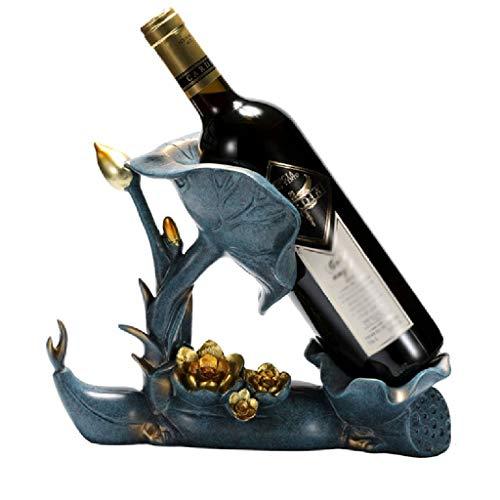 RongWang Soporte de Vino de Loto de la Suerte, Manualidades de decoración del hogar, Muebles de decoración Hechos a Mano, Adornos de Estante de Vino Tinto, Regalo de Empresa