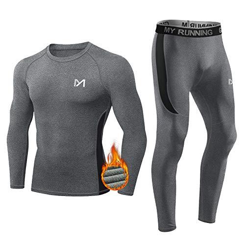 MEETYOO Thermounterwäsche Set Herren, Lange Funktionswäsche Atmungsaktiv Unterwäsche Sport Kompressionsanzug für Workout Skifahren Laufen Wandern (Grau, L)