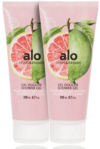 Fruits & Passion [ALO] - Grapefruit Guava Shower Gel Body Wash (2-Pack), Moisturizing Coconut Oil Formula Natural Vegan, Cruelty-Free Hydrating Soap for Men, Women, & Sensitive Healthy Skin (13.5 oz)