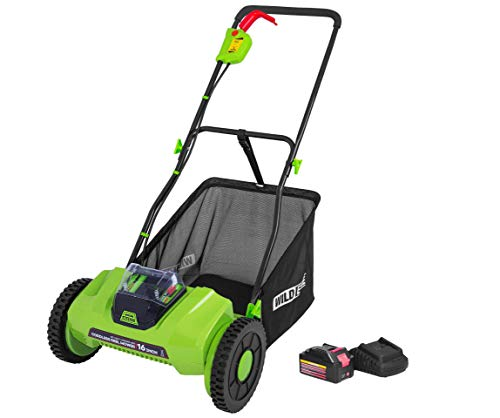Wild Edge 16-Inch 40V Lithium-Ion Cordless Reel Lawn Mower, 2.0 AH Battery and Charger Included, 2021 Upgrade Version