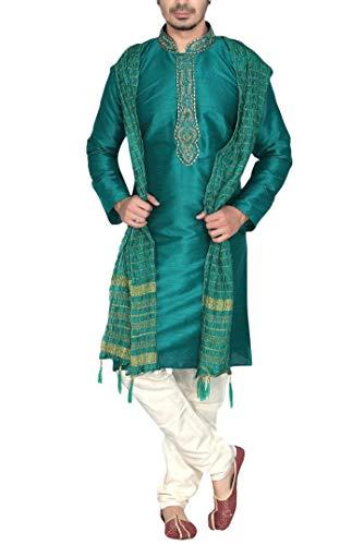 Krishna Sarees Sonisha MKP9008 Grün und Elfenbein Herren Kurta Pyjama Indian Suit Bollywood Sherwan (Chest 52 Inches)