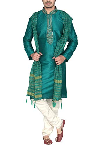 Krishna Sarees Sonisha MKP9008 Grün und Elfenbein Herren Kurta Pyjama Indian Suit Bollywood Sherwan (Chest 38 Inches)