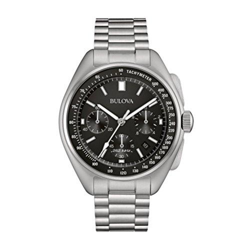 Bulova Lunar Pilot Watch 96B258 - Herren Designer-Armbanduhr Mond-pilot- Chronograph mit schwarzem Zifferblatt - Armband aus Edelstahl