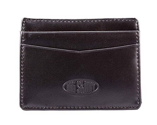 Big Skinny Open Sided Mini Skinny Leather Card Slim Wallet, Holds Up to 9 Cards, Black