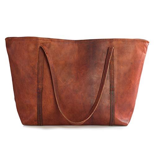 Nama 'Juliana' Shopper Echtes Leder Umhängetasche für Damen Vintage Henkeltasche Beuteltasche Handtasche Schultertasche Multitasche Beutel Naturleder Braun