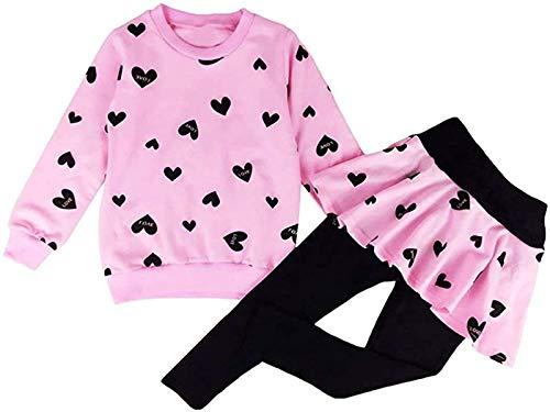 EULLA Kinder Kleidung Set Lange Hülse Tops Mädchen Warm Hoodie T-Shirt Top + Rock Hose Outfits mit Herzform 98 104 110 116 122, Rosa1, 5-6 Jahre