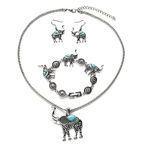 SMEJS Collar de estilo bohemio, pendientes, pulsera, conjunto de joyas para mujer, conjunto de joyas con colgante de elefante de estilo étnico a la moda