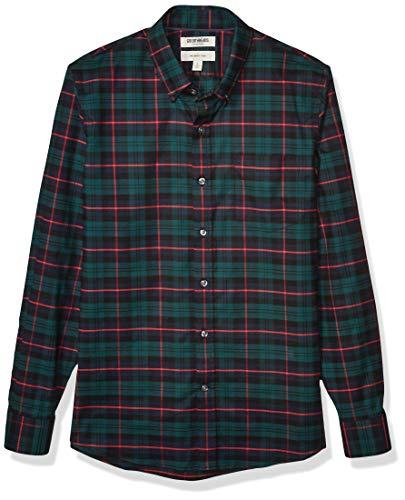 Goodthreads Slim-fit Long-Sleeve Stretch Oxford Shirt (All Hours) Camisa abotonada, Green Navy Tartan, M