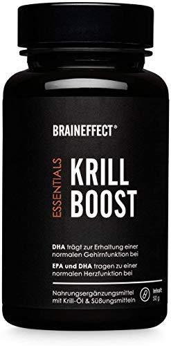 BRAINEFFECT Krillöl Kapseln mit Omega 3, German Quality - 60x Krill Öl Kapseln hochdosiert (1180 mg pro Tagesdosis), reich an Omega 3 Fettsäuren (EPA und DHA) & Astaxanthin, aus echtem Alaska Krill