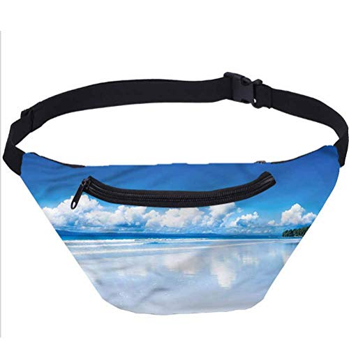 Exotic Fanny Pack Bag,Tropical Beach Paradise Running Travel Sports Bags for Men Women Coworker