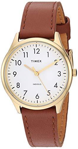Timex Women's TW2T72300 Modern Easy Reader 32mm Brown/Gold/White Genuine Leather Strap Watch