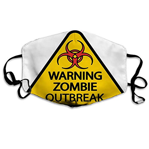 SJuczi MundschutzMundAnti-Staub-Abdeckung,Warning Zombie Outbreak Sign Cemetery Infection Halloween Graphic.jpg,MouthCverWiederverwendbareFack-Abdeckung