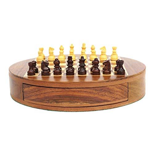 BIAOYU Juego de Ajedrez Conjunto de ajedrez Redondo de Madera Creativa Piezas de ajedrez magnéticas para niños Desarrollo Intelectual Aprender Juguetes Drawer Storage Checkers Chess Juego de Mesa