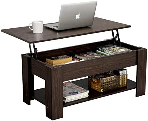Best Yaheetech Modern Lift Top Coffee Table with Hidden Compartment and Storage Shelf - Lift Tabletop for