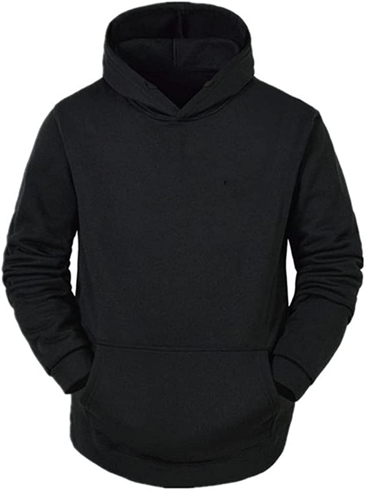 Spring and autumn men's casual loose pullover solid color hooded sweater
