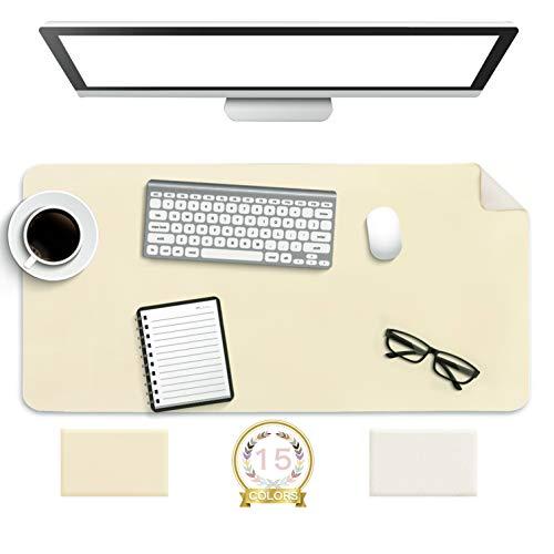 Multifunktionales Office Mauspad,YSAGi 80 x 40 cm Wasserdichte Schreibtischunterlage aus PU-Leder,Ultradünnes Mousepad,Rutschfeste Schreibtischmatte, für Büro und Zuhause(Beige)