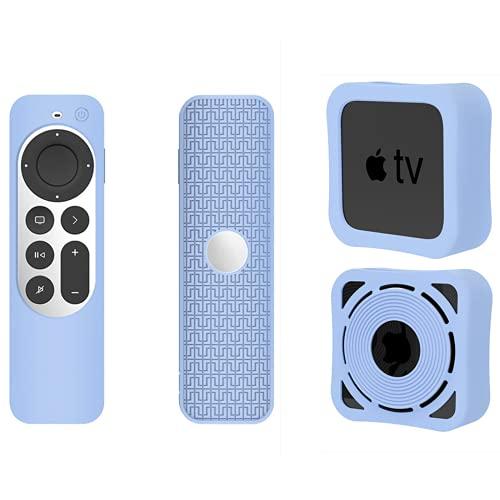 NLZNKZJ Funda Protectora de Silicona más Reciente para Apple TV 4K Siri Remote Controller and Settop Box 2021, Cubierta de protección Antideslizante Resistente a Prueba de Golpes Liviana