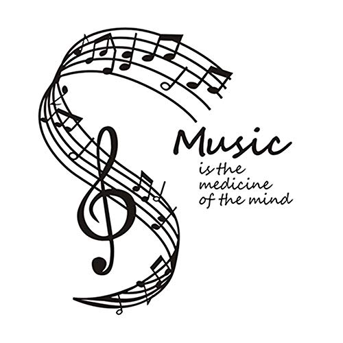 La música es la medicina de la mente. Pegatinas de pared. Notas musicales. Decoración para el hogar. Sala de estar. Nota musical. Tatuajes de pared. A10 58 * 65 cm.