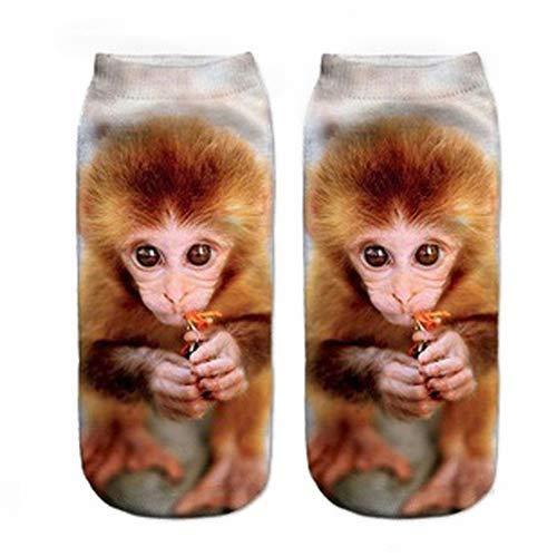 uyhghjhb 3D Harajuku Kurze Socken Cartoon-Druck Tier Hund Eule AFFE Bär Niedriger Schnitt Knöchel Damen Baumwolle Socken, 7