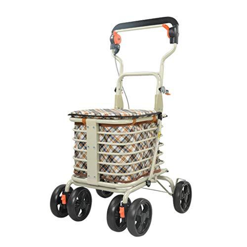 JHome-Einkaufstrolleys Leicht Rollator Gehhilfe Faltbare 4 Räder Einkaufswagen Wagen Aufbewahrungstasche mit Sitz abschließbar Bremsen faltbar tragbar, maximale Belastung 100kg