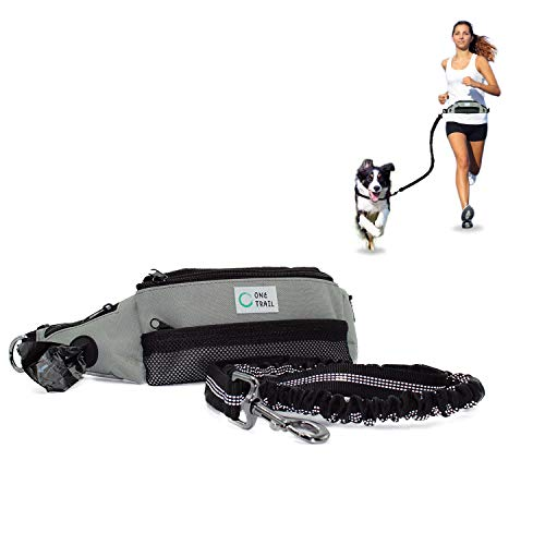 One Trail Hands Free Dog Leash | Durable Bungee Leash with No-Bounce Pack | for Men & Women | Large or Medium Dogs (Large Dog Grey)