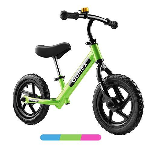 Gonex Bicicletta Senza Pedali per Bambini, Balance Bike 12', Bici per Bambini Minibike con Ruota in Gomma Gonfiabile & Manubrio Sella Regolabile per Bambini da 2 a 6 Anni (Verde)