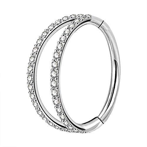 OUFER Body Piercing Helix Earrings Hoop Double Line Clear CZ Paved Septum Ring Cartilage Earrings 16G 316L Stainless Steel Daith Earring Helix Piercing Jewellery 8mm