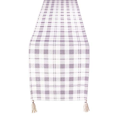Folkulture Table Runner with Tassels for Home Dining Table, Farmhouse Style Décor or Kitchen Runner, 100% Cotton Linen Lilac Purple Boho Table Runner, 14 x 72 inch Long