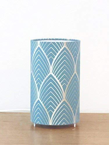 lampe tube motif motif art déco bleu et argenté géométrique Luminaire original motif personnalisable déco chambre idee cadeau anniversaire lampe chevet cadeau crémaillère