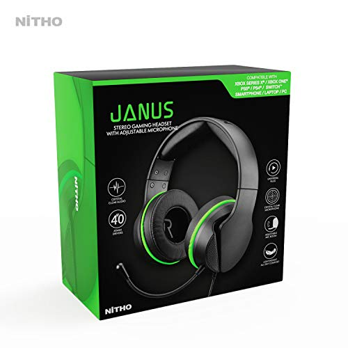 JANUS STEREO GAMING HEADSET XBOX THEMED, Compatible with PS4/Xbox One/XBOX series X/Switch/Phones