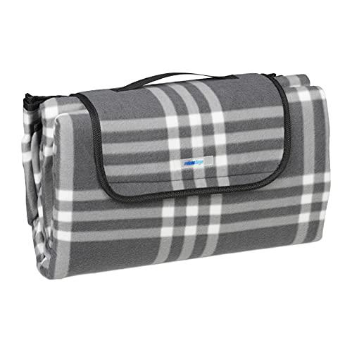 Relaxdays XXL Picknickdecke, 200 x 200 cm, Fleece Stranddecke, wärmeisoliert, wasserdicht, mit Tragegriff, grau/weiß