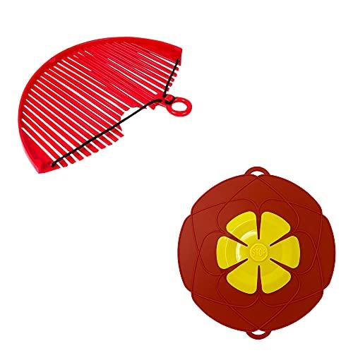 Pack Colador +Tapa Antiderrame y Antisalpicaduras para Olla, Antidesbordamiento para Ollas y Cocina al Papor de Manera Segura, Tapa para Microondas(25cm)
