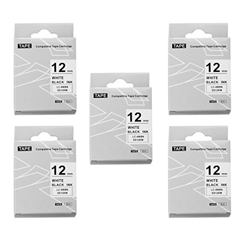 5 Pack Replace LK-4WBN LC-4WBN9(SS12KW) Label Tapes for Epson LabelWorks LW300 LW400 LW500 LW700 Black on White 1/2 Inch X 26.2 Feet(12mm x 8M),Read Comments If You Worry About Low-Scale Reviews! Photo #4