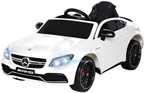 Actionbikes Motors Spielzeug Elektroauto Mercedes Benz C63 - Lizenziert - Ledersitz - Rc Fernbedienung - Elektro Auto für Kinder ab 3 Jahre - Kinderauto (Weiß)