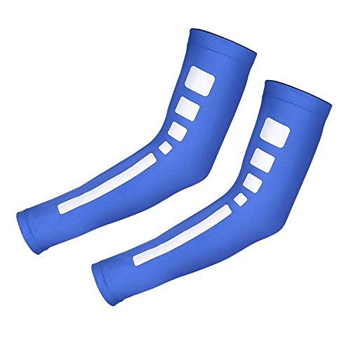 Compresión del Brazo, Nuevo Protector Solar Protector Solar del Codo de la Manga de compresión del Brazo Protector Solar para el Baloncesto 12 Tipos, Protector del Codo(L-Azul)