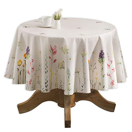 Maison d' Hermine Botanical Fresh 100% Cotton Tablecloth for Kitchen Dinning Tabletop Decoration Parties Weddings Spring Summer (Round, 69 Diameter)