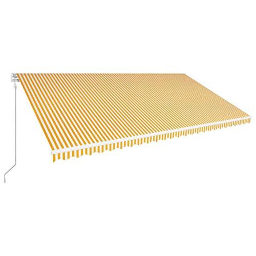 vidaXL Markise Einziehbar Automatisch Gelenkarmmarkise Sonnenmarkise Balkonmarkise Sonnenschutz Sichtschutz Terrasse Balkon 600x300cm Gelb Weiß Alu