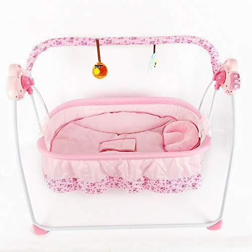 Aohuada - Culla a dondolo elettrica per neonati, culla automatica, con telecomando, zanzariera, con...