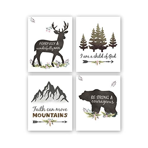 "Woodland Inspirational Quote Art Print,Forest Animals Bible Verse Canvas Poster Picture,Set Of 4(8""x10"",Unframed) Watercolor Nursery Wall Art For Kids Room Decor"