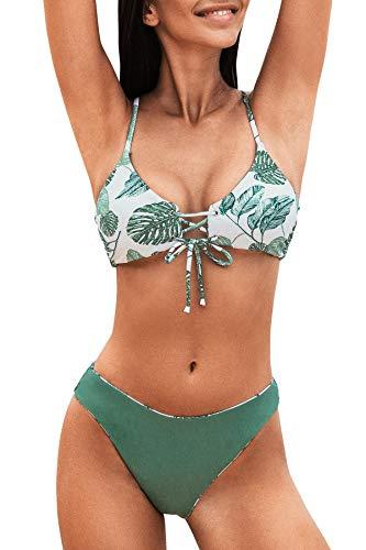 CUPSHE Damen Bikini Set mit Schnürung Tropischer Blätterprint Beidseitige Bademode Zweiteiliger Badeanzug Ozeangrün S