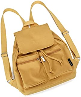 New Women's Bag Casual College Canvas Shoulder Bag Solid Color Simple Candy Color Student Backpack (Color : Yellow)